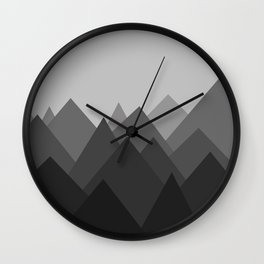 Black and White Abstract Mountains Wall Clock