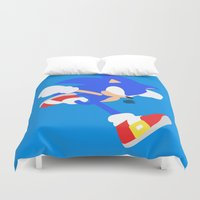 sonic Duvet Covers featuring Sonic(Smash) by samaran