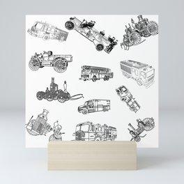 Fire Trucks - Old and New Mini Art Print