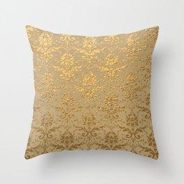 Gold Metallic Damask Beige Throw Pillow