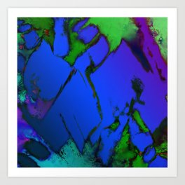 Colliding panels blue Art Print