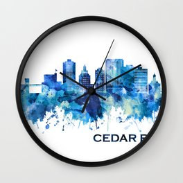 Cedar Rapids Iowa Skyline Blue Wall Clock