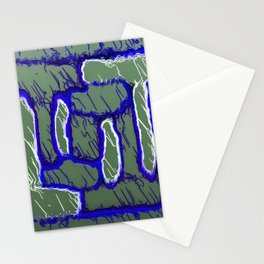 vintage psychedelic painting texture abstract background in dark blue and grey Stationery Cards