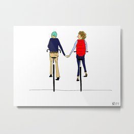 BIKE LOVE hand holding Metal Print
