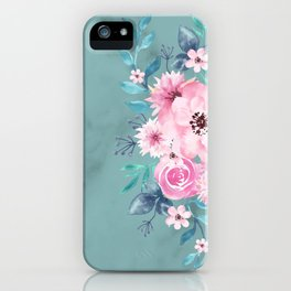 Watercolor Flowers on Limpet Shell Marble iPhone Case