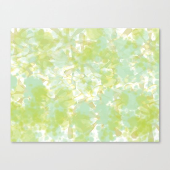 Golden Green Watercolor Abstract Canvas Print