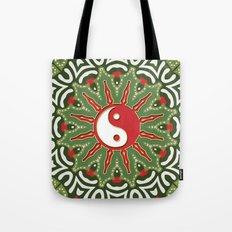 Red Yin Yang Sun Festive Mandala Tote Bag
