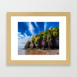 Hopewell Rocks, Fall, Blue Skies and Clouds Framed Art Print