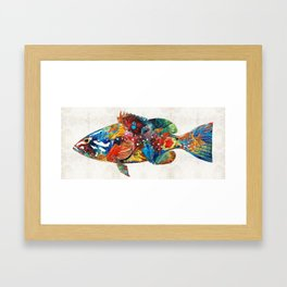 Colorful Grouper Art Fish by Sharon Cummings Framed Art Print
