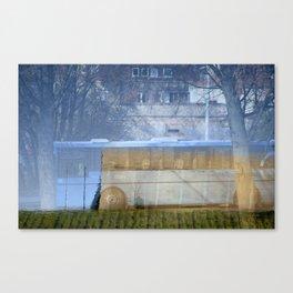 Blue bus Canvas Print