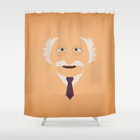 muppets Shower Curtains featuring The Muppets Show Vintage Art Waldorf Retro Style Minimalist Poster Print by The Retro Inc