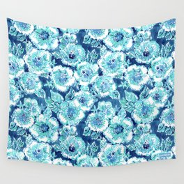 HIBISCUS BOUNTY Blue Tropical Watercolor Wall Tapestry