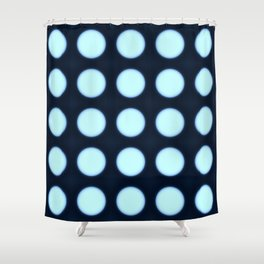 Blue neon dot Shower Curtain