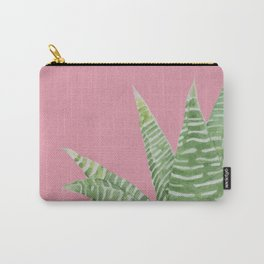 Watercolor Aloe Plant on Pink Carry-All Pouch