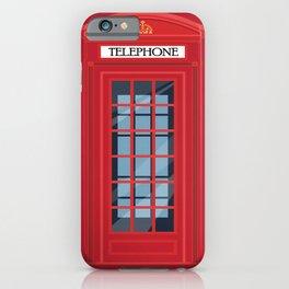 British Telephone Box, Public Phone Kiosk, England Classic Gift iPhone Case