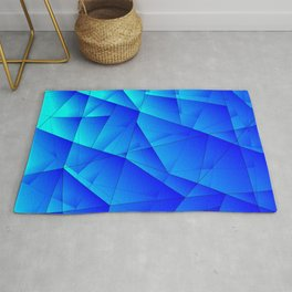 Bright sea pattern of heavenly and blue triangles and irregularly shaped lines. Rug