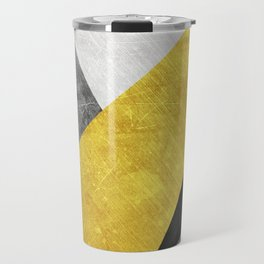 Modern triangle yellow, grey, white and black Travel Mug
