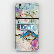 Love Birds on wood iPhone & iPod Skin