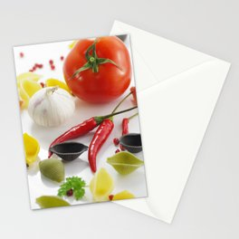 Pasta and their ingredients  Stationery Cards