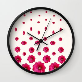 WHITE DOUBLE CERISE HOLLYHOCK FLOWERS GARDEN Wall Clock
