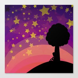 Kid looking to the sky in the late evening Canvas Print