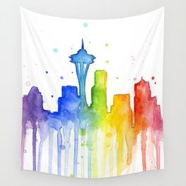 Seattle Skyline Rainbow Watercolor Wall Tapestry