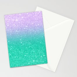Mermaid purple teal aqua FAUX glitter ombre gradient Stationery Cards