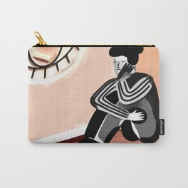 I'M WORRIED. Abstract Woman Silhouette Art, Line Drawing Boho Wall Print, Minimaliste Printable Art Carry-All Pouch