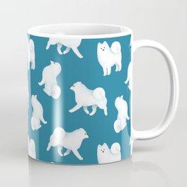 Samoyed Pattern (Blue Background) Coffee Mug