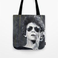 lou reed Tote Bags featuring Lou Reed by Vikki Sin