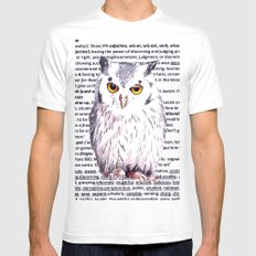 Wise Old Owl White Mens Fitted Tee MEDIUM
