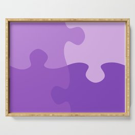 Pastel Ultra Violet Puzzle Pattern Jigsaw Pieces Serving Tray