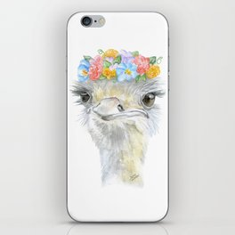Ostrich Floral Watercolor Painting Nursery Art iPhone Skin