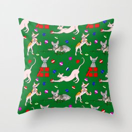 christmas sphynx (naked cat) ugly sweater Throw Pillow