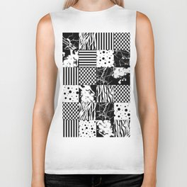 Eclectic Black and White Squares Biker Tank