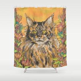 Honeysuckle Cat (Maine Coon Cat) Shower Curtain