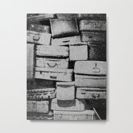 Suitcase Stack Black and White Metal Print