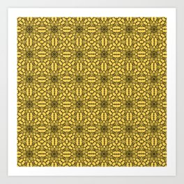 Primrose Yellow Black Lace Art Print