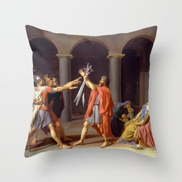 Oath of the Horatii by Jacques-Louis David Throw Pillow