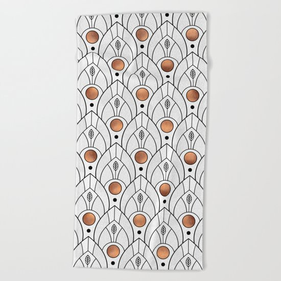 Art Deco Leaves / Version 2 Beach Towel