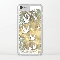 Birds on beige messy kaleidoscope Clear iPhone Case