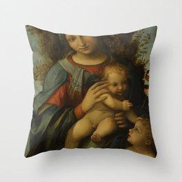 "Antonio Allegri da Correggio ""Madonna and Child with infant Saint John the Baptist"" Throw Pillow"