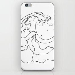 Minimal Line Art Ocean Waves iPhone Skin