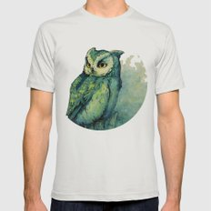 Green Owl Mens Fitted Tee Silver LARGE