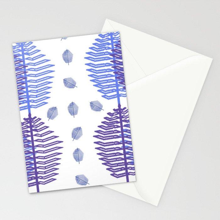 Ultravioletbluesleafpattern Stationery Cards