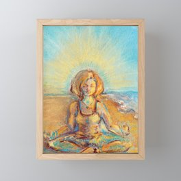 Meditation in nature. Yogi in the beach. Lotus pose Framed Mini Art Print