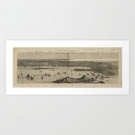 Vintage Pictorial Map of Newport RI (1873) Art Print
