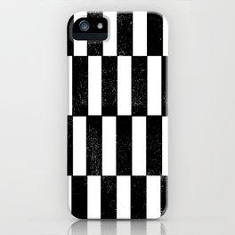 Minimal linocut black and white geometric pattern basic lines stripes iPhone Case
