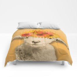 Daisies Sheep Girl Portrait, Mustard Yellow Texturized Background Comforters