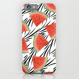 Watermelon slices on white black stripes on the background. iPhone Case